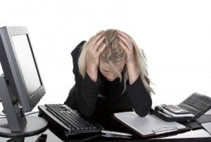 unhappy working woman